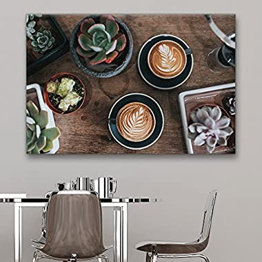 wall26 Canvas Wall Art - Coffee and Succulent Plants - Giclee Print Gallery Wrap Modern Home Decor Ready to Hang - 24x36 inches