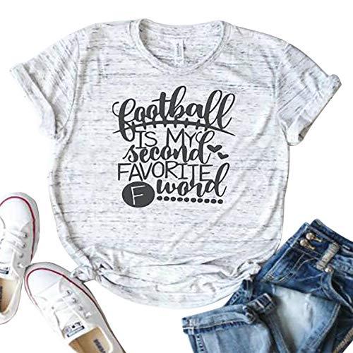 Football is My Second Favorite F Word Shirt Women Friends Shirt Casual Summer Short Sleeve Tee Top Gray (Gray, M)