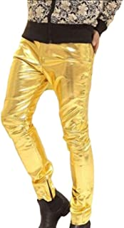 Casual Pants Mens Night Club Fashion Shiny Gold Black Straight Leg Pants Stage Dance Costumes Slim African Style Fit Male Cotton Trousers