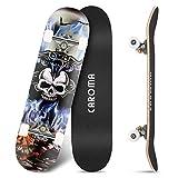 Skateboard para Principiante,79cm×20cm Completo Patineta,9 Capa Monopatín Madera Arce Tabla Double Kick Concave Standard Trick Cruiser Skateboards,para Niña Niño Adulto Adolescentes (5-Blue Flame)