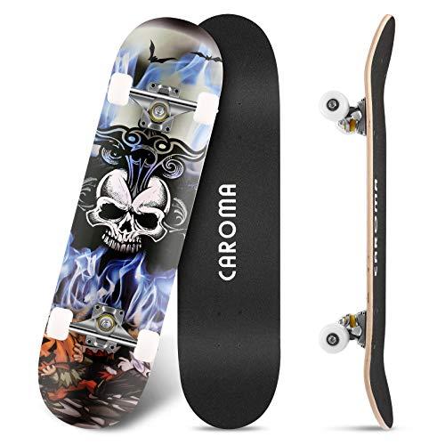 Skateboard per Principianti,79cm×20cm Completo Skate Boards,9 Strati Acero Deck Double Kick Concave Standard Trick Cruiser Skateboards,per Ragazza Ragazzo Adolescenti Adulto Bambino (5-Blue Flame)