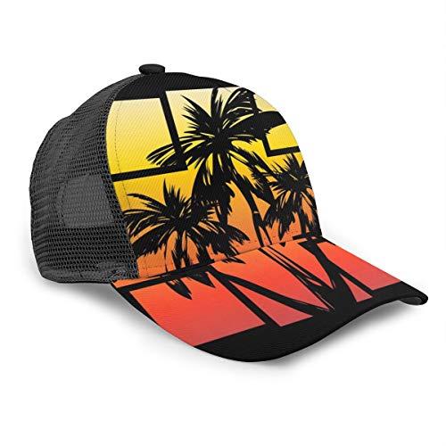 FONDSILVER - Gorra de béisbol de algodón con Palmeras de Coco y Visera Ajustable para Deportes al Aire Libre, Color Negro