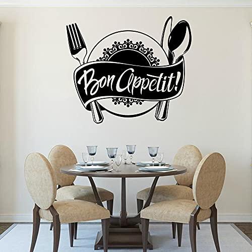Bon Appetit French Quotes Logo Western food Plato Cuchillo Tenedor Etiqueta de la pared Vinilo Arte Calcomanía Dormitorio Sala de estar Comedor Cocina Restaurante Decoración del hogar Mural