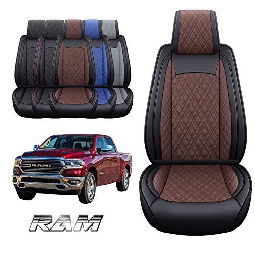Yiertai Dodge Ram 2 Front Car Seat Covers Custom Fit 2009-2021 1500 2500 3500 Pickup Crew Double Quad Cab Laramie Long Horn Waterproof Leather Truck Seat Protectors(2 PCS Front, Black-Brown)