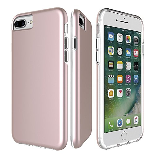 Protective Phone Case For iPhone 8/7/6 Plus By My Gadget Shops: Slim iPhone 8+/7+/6+ Cover, Dual Layer Hard PC Shell And Soft TPU, Non-Slip And Anti-Scratch, Apple Smartphone Drop Protection(RoseGold)