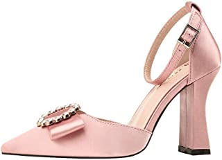 Ying-xinguang Shoes Fashion Thick with Rhinestone High Heel Sandals Women's High-Heeled Satin Sexy Single Shoes Comfortable
