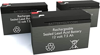 BatteryGuy BGH-1275F2 (Qty of 3) 12V 7.5ah High Rate Rechargeable SLA Battery