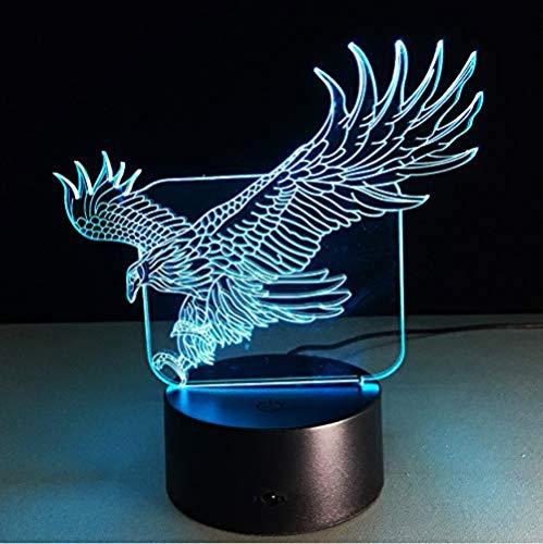 Luz de noche colorida en forma de águila volando halcón lámpara de mesa 3D oficina grande oficina hotel dormitorio bar