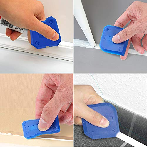Caulking Tool Kit, 3 in 1 Caulking Tools(stainless steelhead) Silicone Sealant Finishing Tool Grout Scraper, Reuse and Replace 5 Silicone Pads,Great Tools for Kitchen Bathroom Window,Sink Joint