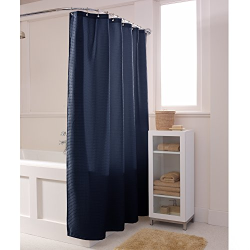 MAYTEX Waffle Fabric Shower Curtain, 70 inch x 72 inch, Navy