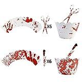 LEYUANA 24 unids/Set Decoración de Halloween Envoltorio de Cupcakes Cuchillos de Sangre Murciélago Araña Patrón de Fantasma Adorno de Pastel Suministros de decoración de postres 24pcsSet1