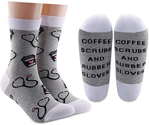 AATOP Divertido enfermera RN regalo de apreciación de la enfermera de regalo de café exfoliantes y guantes de goma calcetines de algodón para enfermera, regalo de graduación
