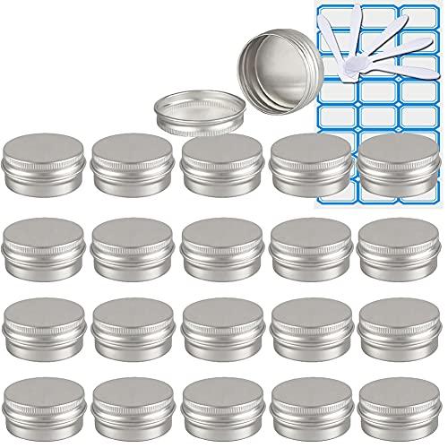 ZEOABSY50 Piezas Tarros de Aluminio con Tapa Rosca 10ml,Plata Tarros de Aluminio Vacíos Redondo para Contenedor De Cosméticos CremasCaja de almacenaje con5 Espátula y 2Etiqueta