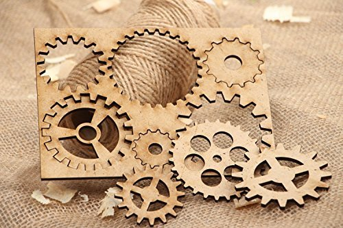 Set of Vintage Plywood Handmade Craft Blanks Gear Wheels Art Supply – Great Gift Idea by Made Heart
