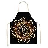 ZHAOXIANGXIANG Delantal De Cocina,Cocina Y Delantal De Cocina Creativa Mandala Patrón Oro Letra F...