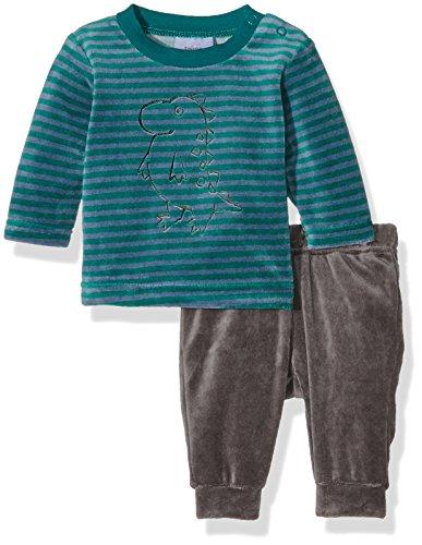 Julius Hüpeden GmbH Twins Baby-Jungen Schlafanzug aus Verlours Dino, Mehrfarbig (Grau/Grün-Gestreift 4016), 50