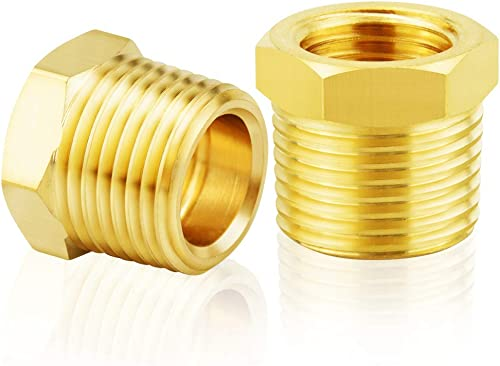 Tailonz Pneumatic Brass Threaded Pipe Fitting 3/8 Inch NPT Male x 1/4 Inch NPT Female Hex Bushing Adapter (2Pcs)