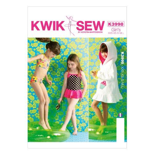 KWIK - SEW PATTERNS K3998 Maat XXS - Extra-Small - Klein - Medium - Grote Meisjes Cover - Up en Badpakken, Pack van 1, Wit