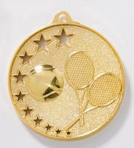 10 Tennis-Medaillen mit Bändern und 3 Tennis-Anstecknadeln (Sticker)