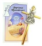 Set de regalo de medalla de ángel de la guarda para cuna con certificado de recuerdo bautismal, Cross