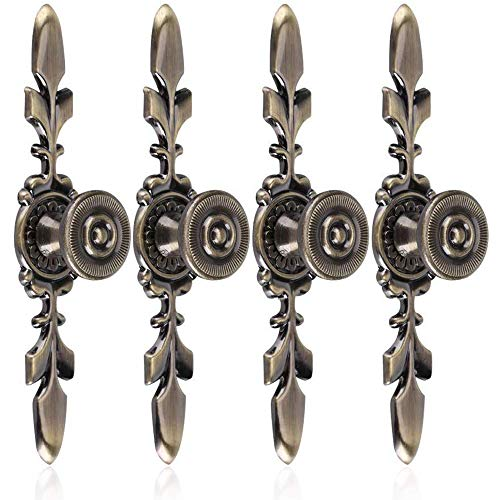 Cestbon Türknauf Im Vintage-Stil, Mit Schraube, 4 Stück - Griff Für Möbel, Schubladen, Schränke, Kommoden, Kleiderschrank Green Bronze,Bronze