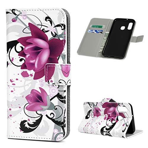 Andome Kompatible mit Samsung Galaxy A40 Hülle Lader Tasche PU Lader Hülle Gemalt Muster Flip Brieftasche Kartenhalter Magnetschnalle Ständer Stoßfest Kratzfest Stoßstange Handyhülle Blume