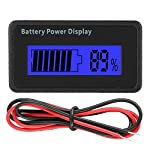 Battery Capacity Indicator 12-48V Universal Battery Tester Voltage Tester with LCD Display(Blue Light)