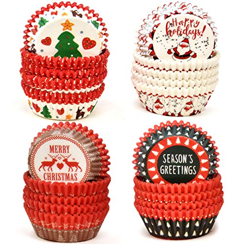 500 Pieces Christmas Cupcake Liners Muffin Cups Colorful Paper Disposable Cupcake Holders, Standard Size Ideal for Holiday Decor and Parties Christmas Theme Party Decorations, 4 Designed Wrappers