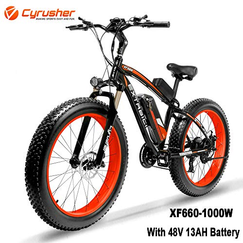 Cyrusher XF660 1000W Electric Bike 264 inch Snow Beach Fat Tire Mountain Bike 48V 13AH Hydraulic Disc Brakes 7 Speeds Ebike(red)