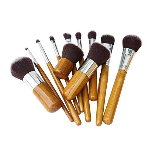 Frcolor Ensemble de pinceau de maquillage en bambou poignée fond de teint Concealer Eye Face liquide Poudre crème pinceaux avec sac, 11Pcs