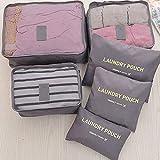 Ba30DEllylelly Conjunto de bolsa de almacenamiento de viaje de 6 piezas para ropa Organizador ordenado Armario Maleta Bolsa Bolsa de organizador de viaje Estuche Bolsa de cubo de embalaje