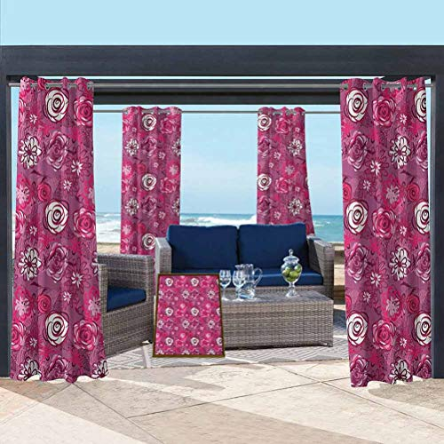 ParadiseDecor Garden Art Heat Durable Curtains Solid Cabana Grommet Curtain Blooming Flowers Abstract Composition Coming of The Spring Theme Fuchsia Maroon Purple 100W x 84L Inch