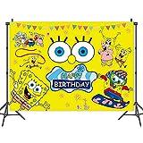 LKNBIF Paño de Fondo de Dibujos Animados, Bob Esponja Telón de Fondo de La Fotografía, Póster de Fiesta de Niños, Cumpleaños Foto Fondo, Decoración de Mesa Suministros, Niños Fiesta Booth Props