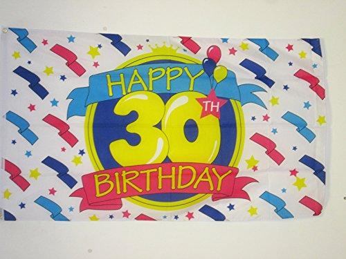 AZ FLAG Drapeau Joyeux Anniversaire 30 Ans 150x90cm - Drapeau Happy Birthday 90 x 150 cm - Drapeaux