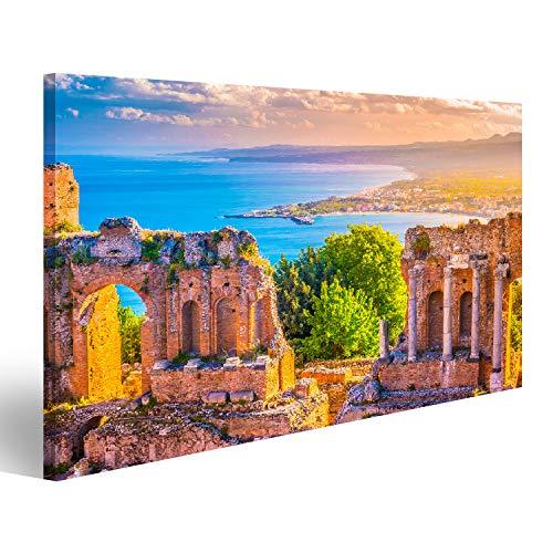 islandburner Quadro Stampa su Tela Quadri Moderni Le rovine del teatro di Taormina al Tramonto. Bella Foto di Viaggio, Foto Colorata della Sicilia. Unb