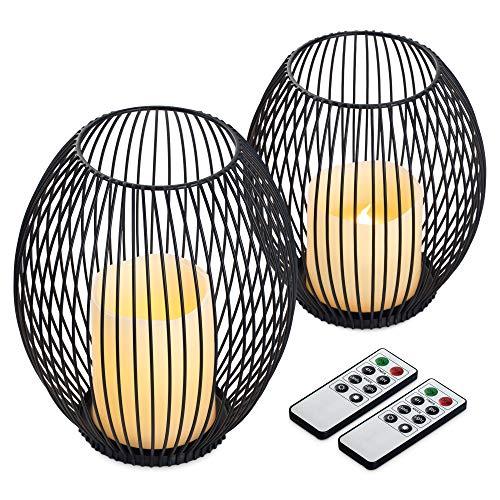 Navaris Set Lanterne Elettriche con Telecomando - 2x Candela LED Dimmerabile 2x Portacandela Ferro Battuto Nero Div. Grandezza - Lanternino a Batterie