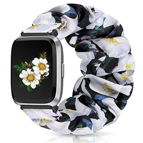 Runostrich Scrunchie Elastic Watch Band Women for Fitbit Versa/Versa 2/Versa Lite/SE, Floral Breathable Replacement Strap Scrunchy Wristband Bracelet Accessories (L Blackish Green-White Flower, M)
