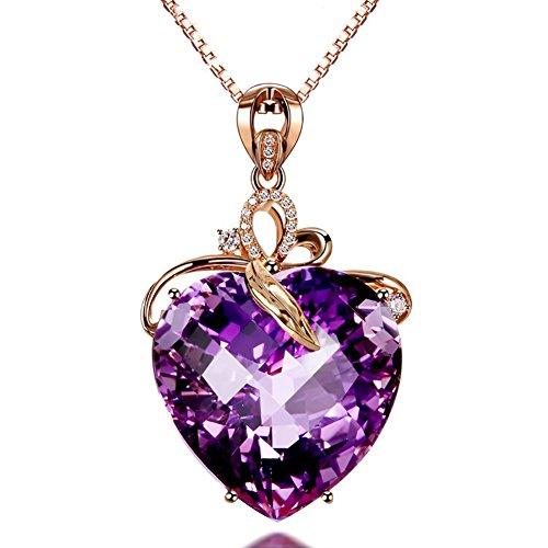 AchidistviQ Collier avec pendentif en forme de cœur en strass - Bijou de luxe - Pendentif améthyste en forme de cœur - Or 18 carats - Pierre précieuse naturelle - Violet