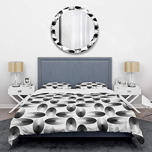 966 Duvet Cover 3 Piece Set Ultra Soft Microfiber Bedding Set Retro Geometrical Abstract Pattern IV Mid-Century Design