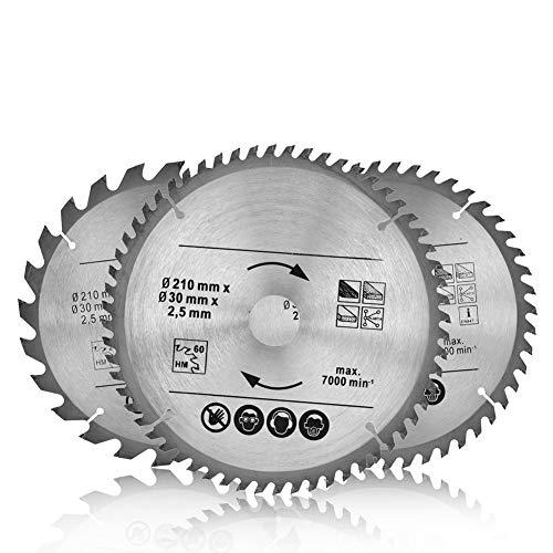 Hoja de sierra circular, 3 unidades, 210 x 30 mm, ideal para madera, hoja de sierra universal de alta calidad con dientes de metal duro