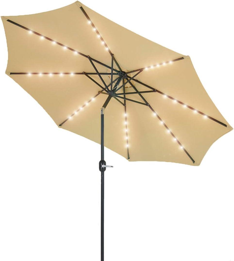 Patio Watcher 10-Ft Patio Umbrella 40 LED Lighted Solar Umbrella with Push Button Tilt and Crank, Outdoor Umbrella 8 Steel Ribs, Beige
