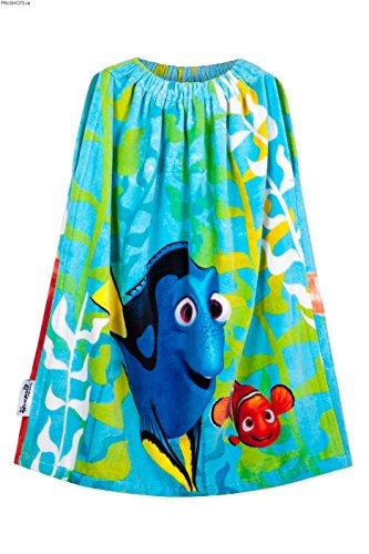 Wrapsies - Toalla de baño para niños y niñas, multiusos, para baño, ducha, piscina, playa, seco y vestido con facilidad, diseño de Buscando a Dory