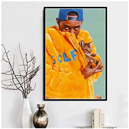 TanjunArt Póster e Impresiones Tyler The Creator Hip Hop Rapper Singer Star A Ap Rocky Canvas Wall Art Painting Wall Pictures Room Decoración para el hogar -50x70cm Sin Marco