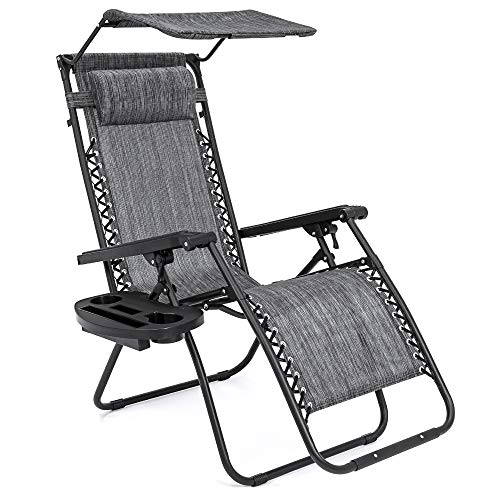 Best Choice Products Folding Zero Gravity Outdoor Recliner Patio Lounge Chair w/Adjustable Canopy Shade, Headrest, Side Accessory Tray, Textilene Mesh - Gray