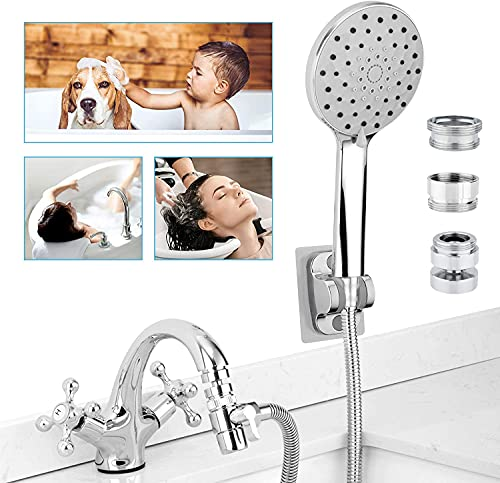 Sink Faucet Sprayer Hose Attachment, 6-Spray Shower Head w/ 360 Swivel Aerator, 6.5ft Hose for Salon Hair Washing, Pet Dog Baby Bath, Extension Rinser for Tub Bathroom Kitchen Spout Delta Moen Kohler