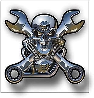 Magnet V Twin Motorcycle Engine Chrome Skull Magnetic vinyl bumper sticker sticks to any metal fridge, car, signs 5