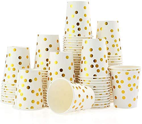 Natooz Einweg Pappbecher Gold Dot 250ml, 100 Stück Trinkbecher für Party, Weihnachtsfeier, Kinderparty, Hochzeit – Papier Becher mit golden Pünktchen
