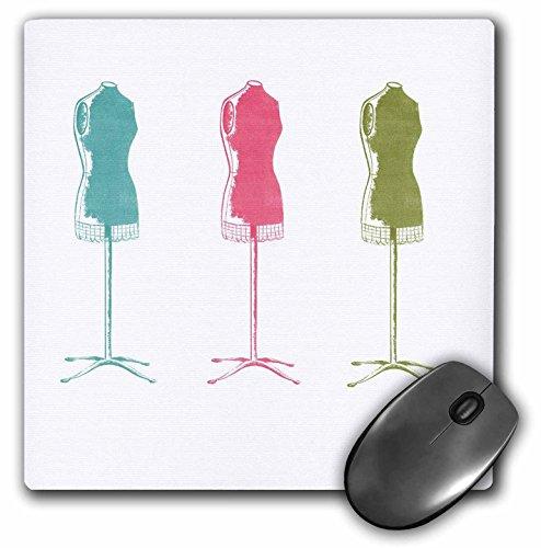 3dRose Florene Décor II - Aqua Pink n Green Dress Forms - Mousepad (mp_44805_1)