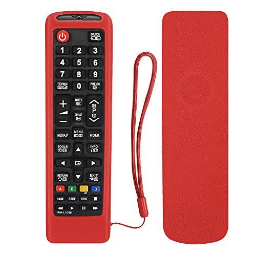 Custodia in silicone per telecomando Samsung TV Remote AA59-00741A BN59-01199F BN59-01301A BN59-01041A - Lavabile sulla pelle, con cordino incluso, colore: Rosso