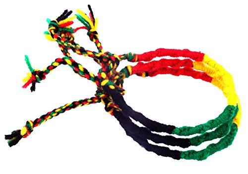 Lote de 3 pulseras brasileñas rasta amistad de macramé algodón Friendship amuleto de la suerte multicolor reggae Jamaica Bob Marley